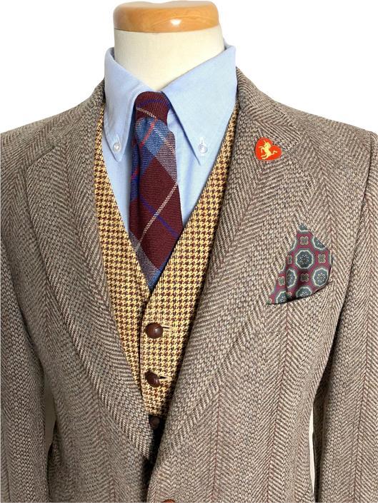 Vintage 100% WOOL TWEED Blazer ~ 36 R ~ Herringbone jacket / sport coat ~ Preppy / Ivy League / Trad by SparrowsAndWolves