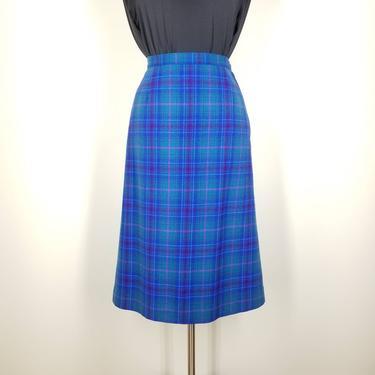 1970s Blue Plaid Pendleton Wool Skirt, Medium ~ Tartan Pencil Skirt ~ Retro Midi Aquamarine Suit Skirt ~ Mid Length Secretary Skirt by SoughtClothier