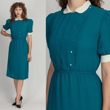 80s Teal Green Peter Pan Collar Dress - Small | Vintage Sheer Contrast Trim Boho Midi Dress by FlyingAppleVintage