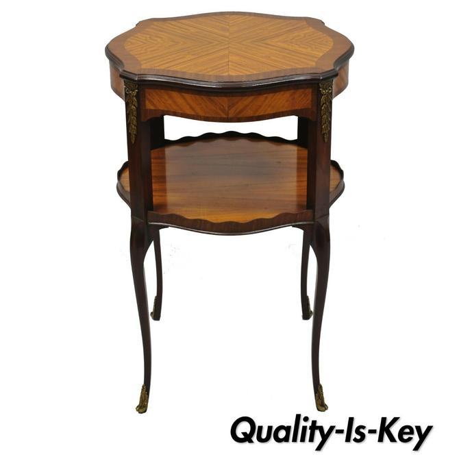 Weiman Heirloom Mahogany Satinwood Inlay French Louis XV Style Accent Side Table
