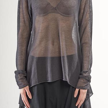 Oversized Asymmetric Sheer Knit Cotton Mesh Pullover