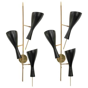 Three Brass and Black Metal Shade Midcentury Style Sconces, Italy, 2018