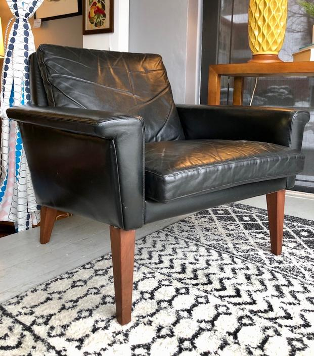 Danish Easy Chair in Black Leather attr. to Folke Jansson 1960's