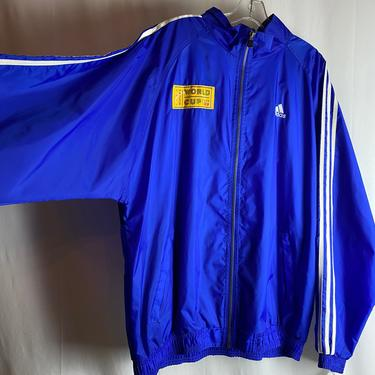1999 women's World Cup~ soccer hooded jacket~ XLG tall size~ bright blue race stripes~ sportswear ~ retro FIFA by HattiesVintagePDX