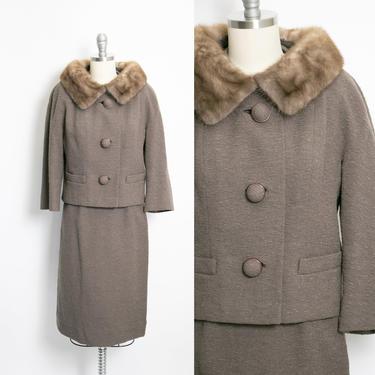 1960s Wool Suit Ensemble Jacket Skirt Mink Fur XS by dejavintageboutique