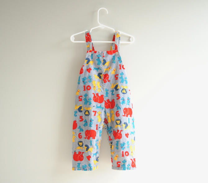 Vintage Toddler Corduroy Overalls with Animals and Numbers, Colorful Vintage Children's Overalls Unisex Boys or Girls Blue Corduroy Overalls by LittleDogVintage
