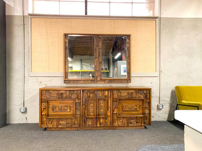 Lane brutalist dresser with mirror