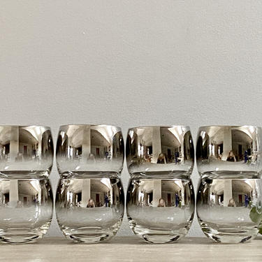Large Roly Poly Whiskey Cocktail Glasses Silver Fade MCM Mid Century Barware Set of 8 by ModRendition