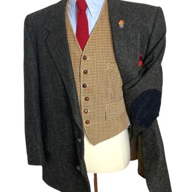 Vintage HARRIS TWEED Wool Blazer ~ 52 to 54 R ~ jacket / sport coat ~ Elbow Patches ~ Preppy / Ivy Style / Trad ~ Donegal by SparrowsAndWolves