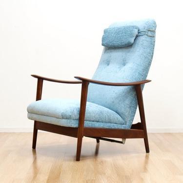 Danish Modern Hi Back Recliner Easy Chair by Arnt Lande for Stokke Mobler by SputnikFurnitureLLC