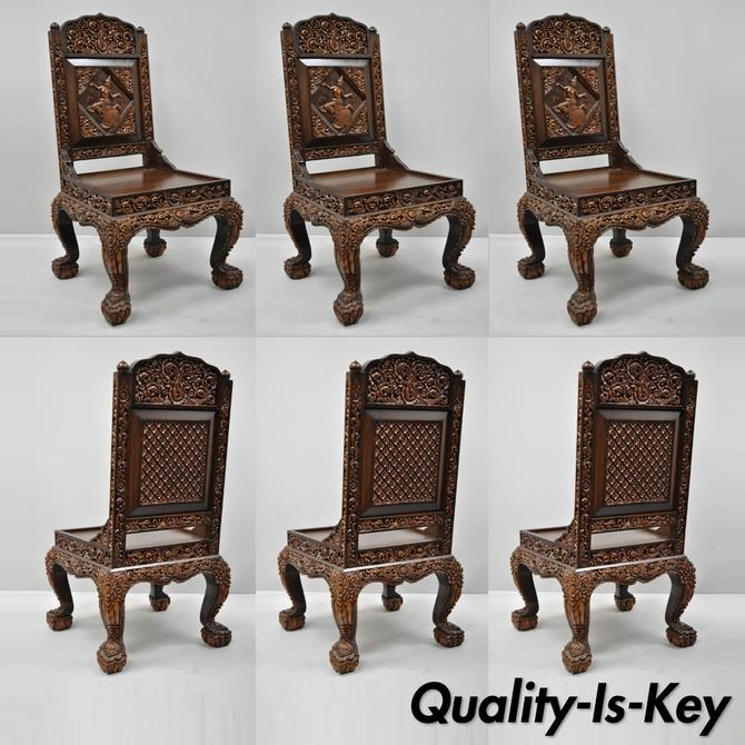 6 Hand Carved Thai Oriental Teak Wood Dining Chairs with Dancing Female Figure