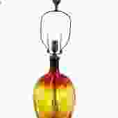 Modern Designed 1962 by Wayne Husted Tangerine Amberina Colored Tall Blown Blenko Glass Table Lamp