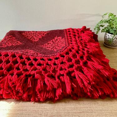 Vintage Bedspread Throw with Fringe - Red Boho Style Throw - Red Burgundy Brown - Full/Queen Bedspread by SoulfulVintage