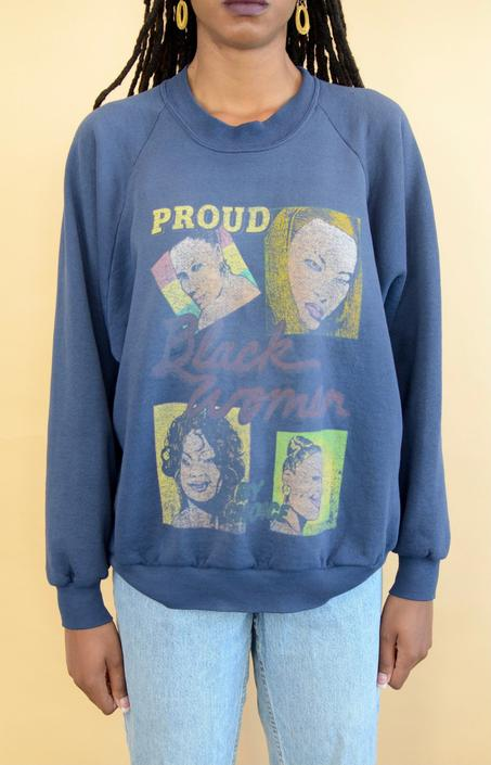 "Vintage 90s ""Proud Black Women"" Unisex Sweatshirt (XL, Oversize) by MAWSUPPLY"