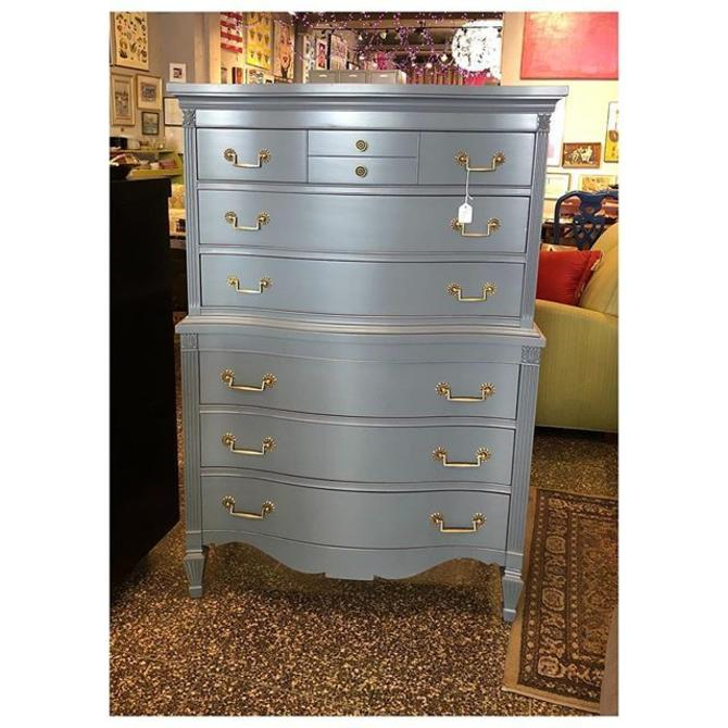 Gray painted Tall chest of  6 drawers 37 W x 21 D x 56 H