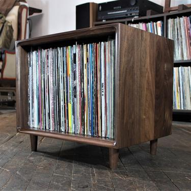 Solid walnut record vinyl storage unit or end table bookcase mid century style by GideonWoodworker
