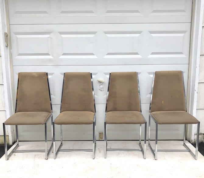 Set of Italian Modern Dining Chrome Dining Chairs by secondhandstory