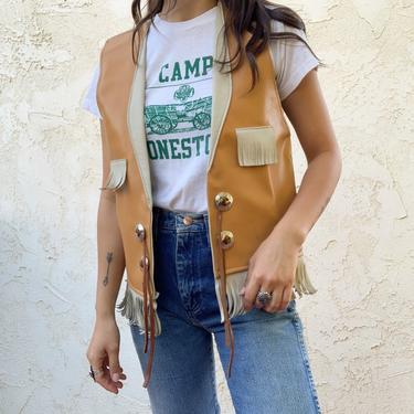 Vintage 1960's Faux Leather Fringe YMCA Indian Guides Vest by CottontailTrdPost