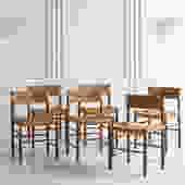 Set of 6 Charlotte Perriand Dordogne Chairs for Robert Sentou