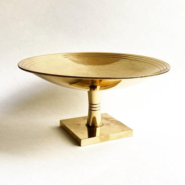 AS IS Vintage Tommi Parzinger Dorlyn Brass Tazza / Compote Tray, 1950s Modernism by templeofvintage
