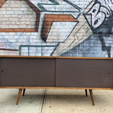 "Paul mccobb mid century modern walnut finish low credenza sideboard dresser Solis maple brown cloth doors on tapered legs 60"" by symmetrymodern"