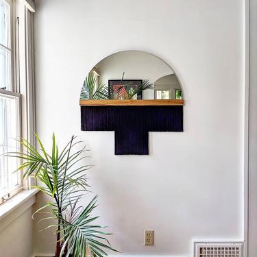 "Half-Circle Fringe Mirror: ""Aria-Duet"" (Large) WITH Wood Accent Bar-Boho Mirror, Half-Moon Mirror, Macrame Mirror, Modern Mirror by shopcandiceluter"