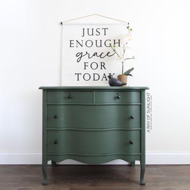 Dark Green Painted Dresser - Antique Dresser, TV Stand, Entryway Table, Farmhouse Style, Painted Furniture, Chest of Drawers, Coffee Bar by ARayofSunlight
