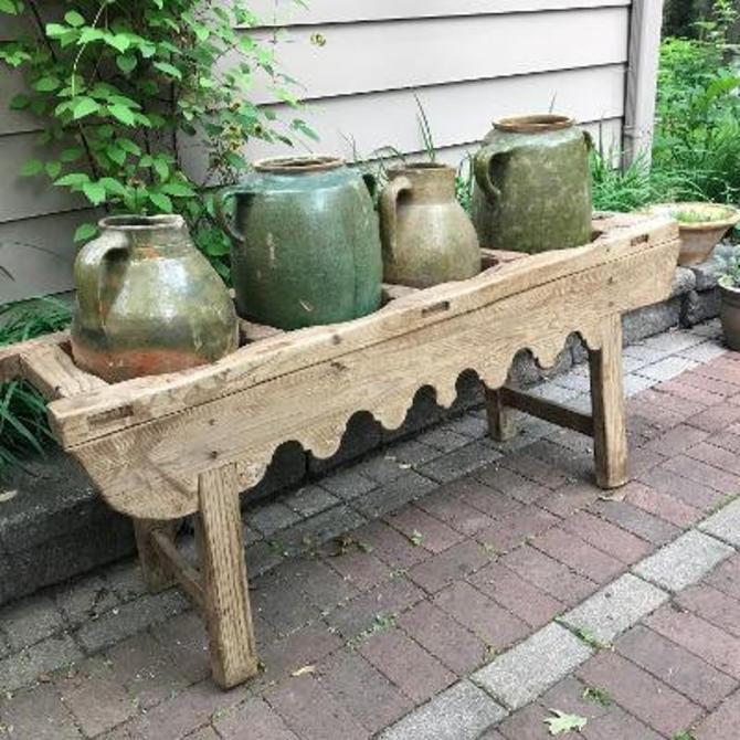 Reserved Pottery Jug, Vase, Oil Jar, Green Glazed, Rustic Terra Cotta, European Farmhouse, Farm Table by JansVintageStuff