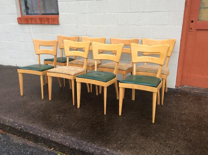 Heywood Wakefield Set 8 Dining Chairs Dog bone Pattern by QuaboagValleyAntique