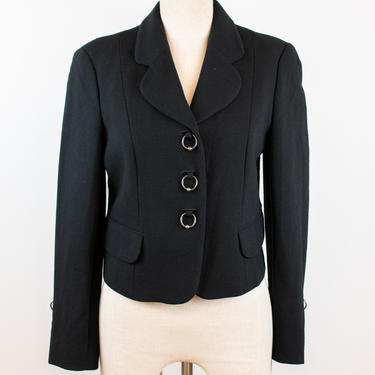 1990's / Y2K Vintage Moschino Cheap and Chic Black Blazer with Jump Rings by LadyofLizard