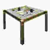 "Karl Springer Incredible ""Square Leg Game Table"" in Gunmetal and Brass 1970s"