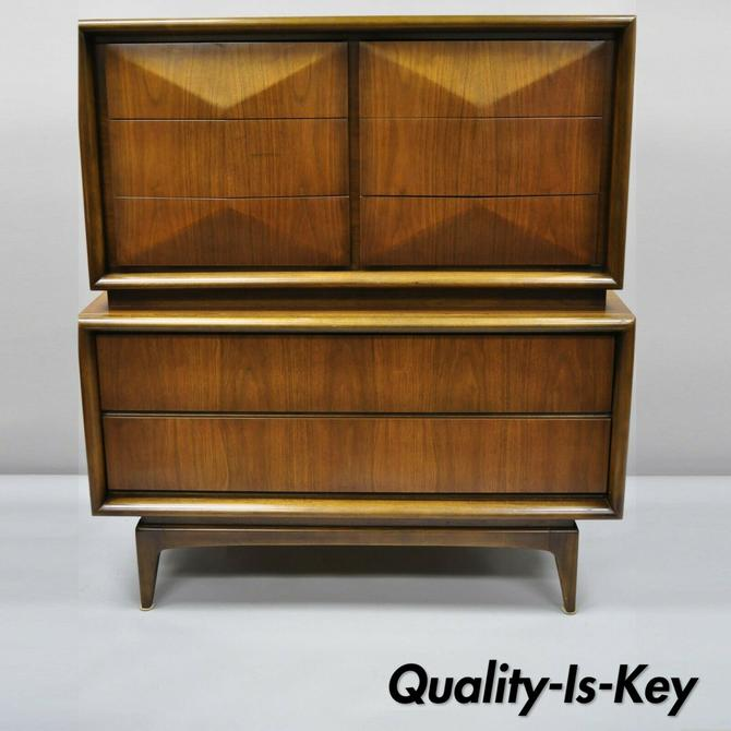 Mid Century Modern Diamond Front Walnut Tall Chest Dresser by United Furniture