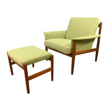 Vintage Danish Mid Century Modern Teak Lounge Chair and Ottoman by Grete Jalk for France and  Son by AymerickModern