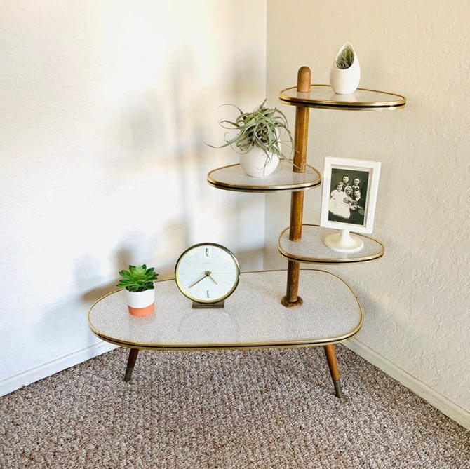 Formica Side Table, Vintage Plant Stand, Mid Century Plant Table, Atomic Vintage Table, Formica Accent Table, Atomic Table, Space Age Table by dadacat