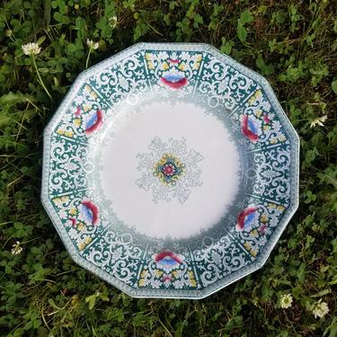 Antique 1850s Zamara Pattern Ironstone China Decorative Plate ~ Green Scroll ~ Victorian Dinner Plate ~ Staffordshire Transferware ~ HTF by SoughtClothier
