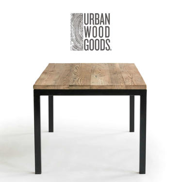 """Urban Industrial Recycled Wood Table 1.5"""" thick top, welded steel base, shown in natural & oil finish-your choice of color, size, finish by UrbanWoodGoods"""