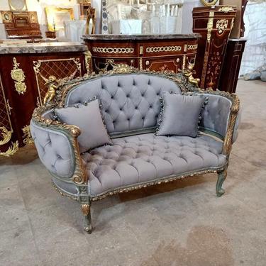 French Settee Tufted Gray Velvet French Sofa Vintage Furniture Antique Baroque Furniture Rococo Interior Design Vintage Settee by SittinPrettyByMyleen
