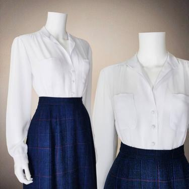 Vintage See Through Blouse, Medium / Sheer White Button Blouse / Crepe Cocktail Blouse / Classic Long Sleeve Button Up Dress Blouse by SoughtClothier