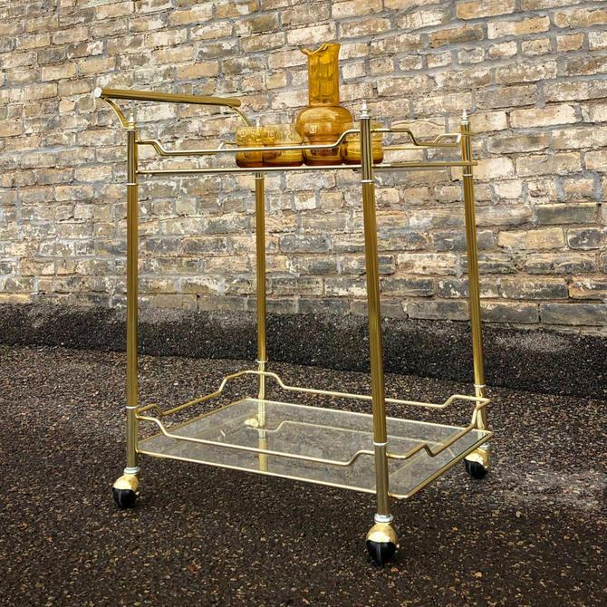 Hollywood Regency Brass Serving Cart