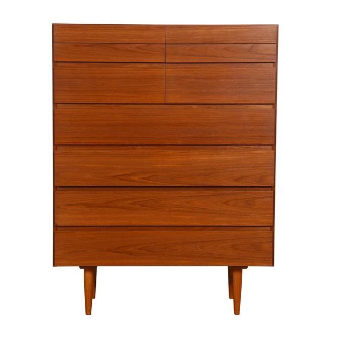 Danish Modern Teak Tall 'Split-Drawer' Dresser