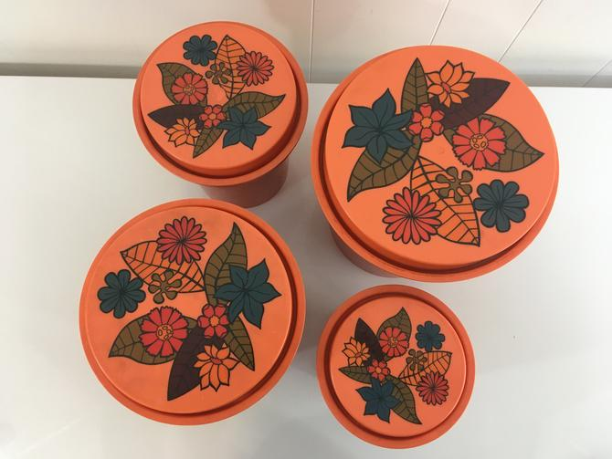 Vintage Floral Rubbermaid Canisters Groovy Orange Flowers Set of Four (4) Flower Power Retro Storage Plastic Office Crafts Kitsch Kitchen by CheckEngineVintage