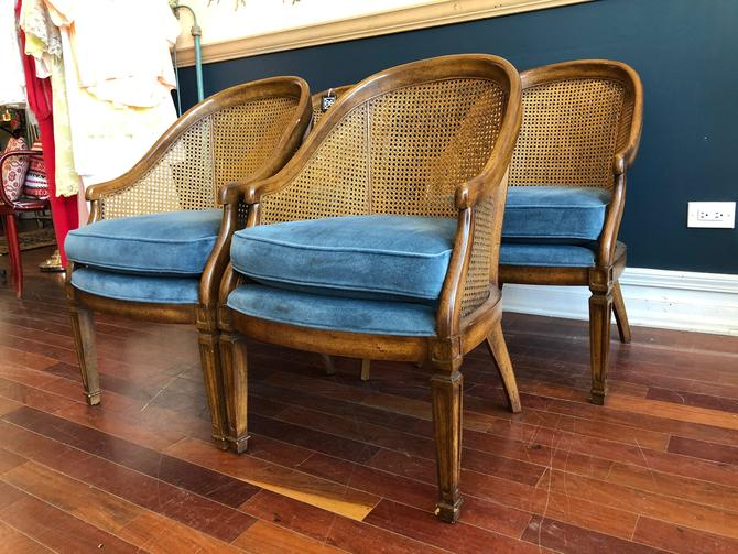 Set of 4 Caned, Barrel Back Dining or Accent Chairs by StrangelovelyVintage