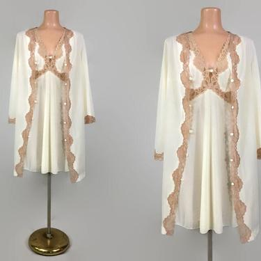 VINTAGE 70s Emilio Pucci for Formfit Rogers Ivory Crepeset Nylon Mocha Lace Peignoir Set | 1970s Nightgown & Robe  | Wedding Bridal Lingerie by IntrigueYouForever