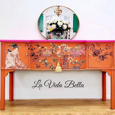 Stunning Chinoiserie Style Buffet, Sideboard, Console, Vintage, Hand Painted. by LaVidaBellaDesign