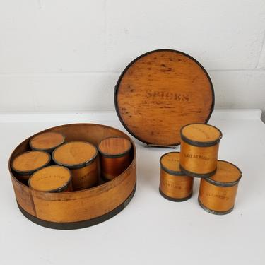 Antique Bentwood Stenciled Shaker Spice Box