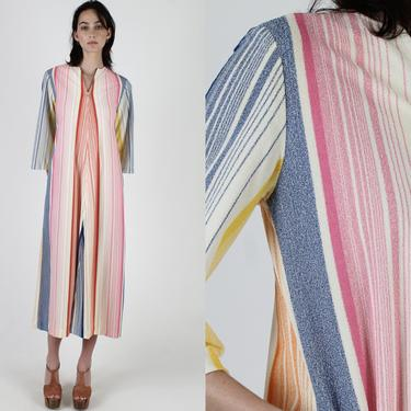 Womens Terry Cloth Beach Dress / 70s Rainbow Striped Dress / Disco Lounge Bell Sleeve Dress / Vacation Cover Up Resort Wear Maxi Dress by americanarchive