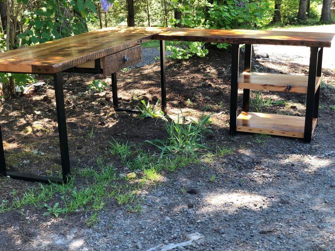 L shaped desk with shelves. Industrial desk. Reclaimed wood desk. Corner desk. Modern desk. Salvaged wood desk. Office desk. Executive desk. by UrbanIndustrialNW