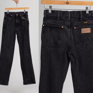 Vintage Wrangler Black Mid Rise Jeans - XXS to XS   80s Denim Straight Leg Long Inseam Pants by FlyingAppleVintage