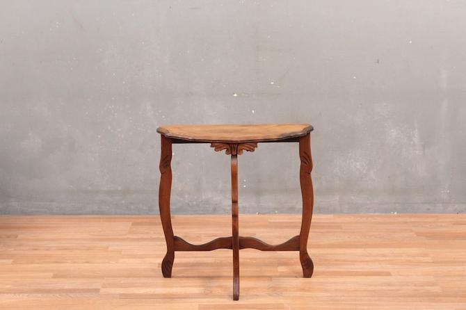 Carved Demilune Side Table