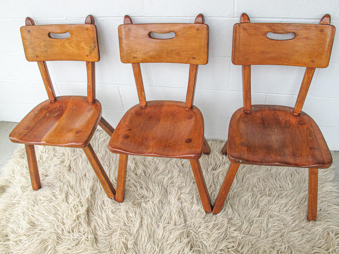 Vintage Solid Oak Designer Chairs (3 Available and Sold Separately) by PortlandRevibe